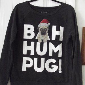 Bah Hum Pug Sweatshirt - Women's Large - Christmas
